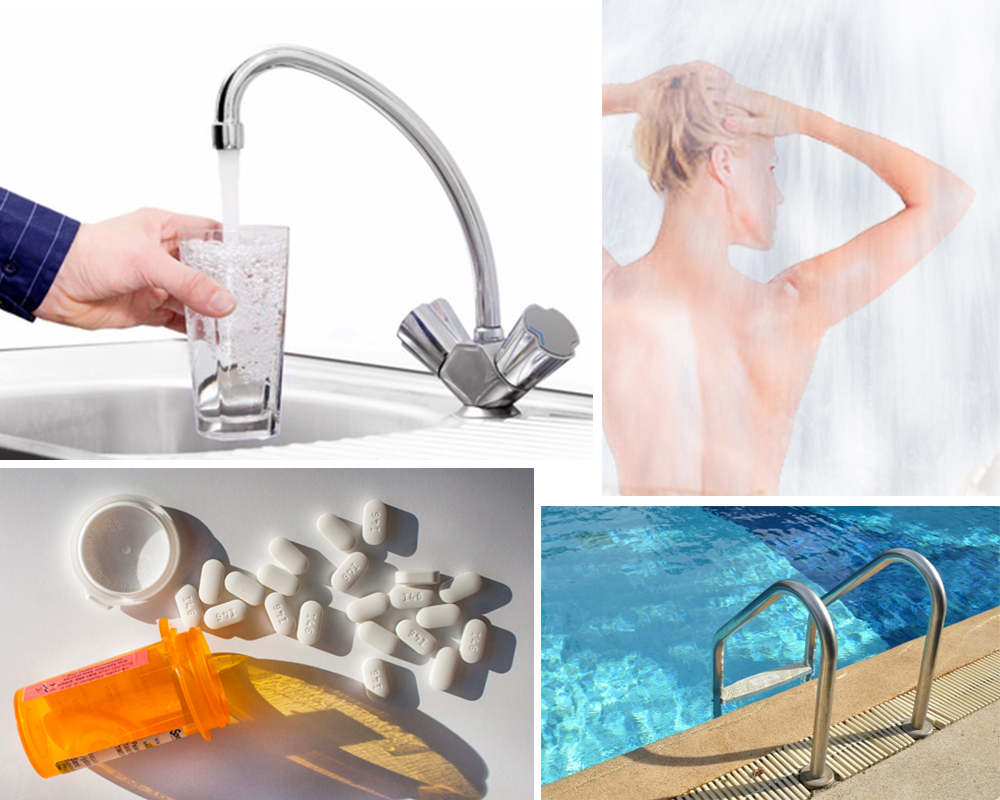 Antibiotics, showering in or drinking tap water, swimming in chlorinated pools